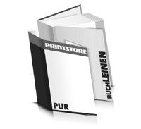Hardcover Bücher bedrucken Leinen Buchüberzug gerader Buchrücken PUR-Klebebindung Buchdruck im Hochformat