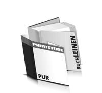 Hardcover Bücher bedrucken Leinen Buchüberzug bedruckter Vorsatz & Nachsatz gerader Buchrücken PUR-Klebebindung Buchdruck im Quadratformat
