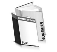 Bücher drucken Surbalin Buchüberzug gerader Buchrücken PUR-Klebebindung Buchdruck im Hochformat
