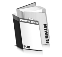Bücher drucken Surbalin Buchüberzug bedruckter Vorsatz & Nachsatz gerader Buchrücken PUR-Klebebindung Buchdruck im Hochformat