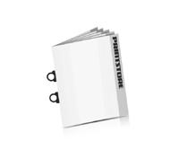 Softcover Kataloge bedrucken CB-Drahtheftung  2 CB-Klammern Hochformat