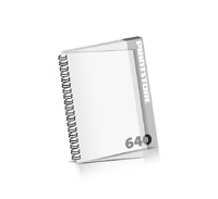 Imagebroschüren drucken  324 Seiten bis  640 Seiten Imagebroschüren mit Drahtkammbindung PVC-Frontblatt oder PVC-Endblatt (1 Blatt PVC) Drahtkamm links Hochformat