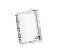 Imagebroschüren drucken  16 Seiten bis  320 Seiten Imagebroschüren mit Drahtkammbindung PVC-Frontblatt und PVC-Endblatt (2 Blätter PVC) Drahtkamm links Hochformat
