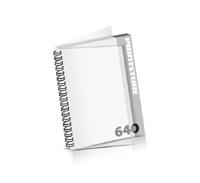 Imagebroschüren drucken  324 Seiten bis  640 Seiten Imagebroschüren mit Drahtkammbindung PVC-Frontblatt und PVC-Endblatt (2 Blätter PVC) Drahtkamm links Hochformat