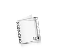 Imagebroschüren drucken  16 Seiten bis  320 Seiten Imagebroschüren mit Drahtkammbindung PVC-Frontblatt und PVC-Endblatt (2 Blätter PVC) Drahtkamm links Quadratformat