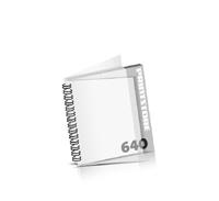 Imagebroschüren drucken  324 Seiten bis  640 Seiten Imagebroschüren mit Drahtkammbindung PVC-Frontblatt und PVC-Endblatt (2 Blätter PVC) Drahtkamm links Quadratformat