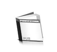 Softcover Kataloge bedrucken  4 Seiten Umschlag PUR-Klebebindung Quadratformat