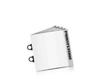 Softcover Kataloge bedrucken CB-Drahtheftung  2 CB-Klammern Quadratformat